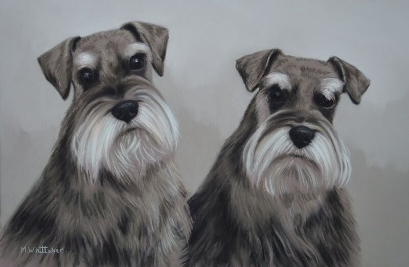 Original Pastel Painting of Digby & Dexter The Schnauzers