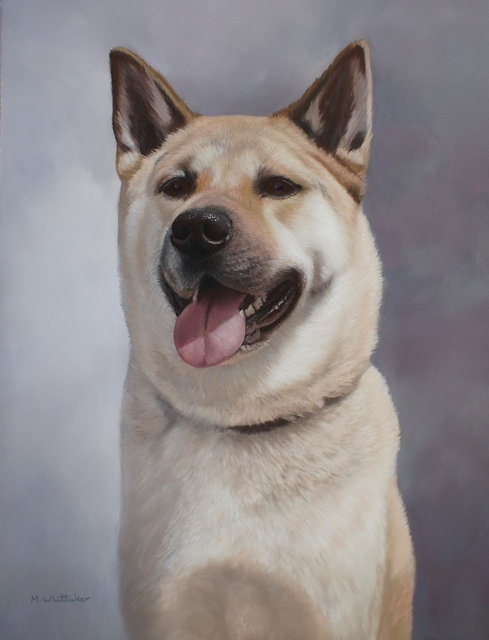 Original Pastel Painting Of Koshin, Japanese Akita