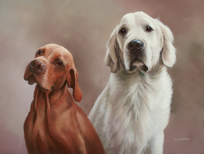 Original Pastel Painting Of Max & Henry, Hungarian Vizla & Golden Retriever