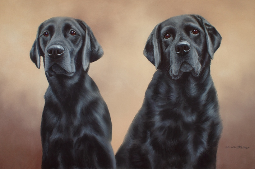 Original Pastel Painting Of Izzie & Frankie, Black Labradors