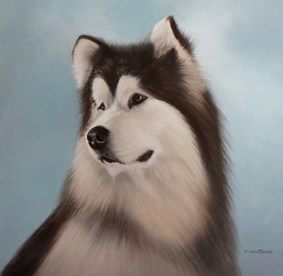 Original Pastel Painting Of Alaskan Malamute