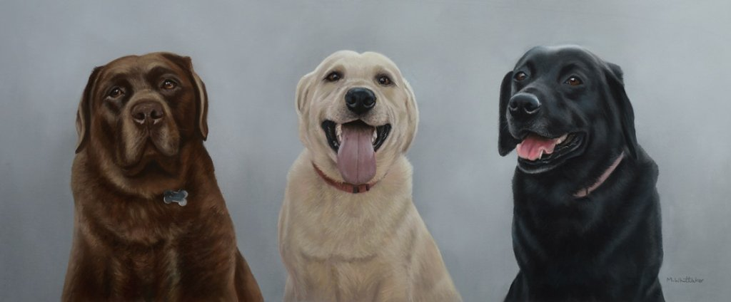 Original Pastel Painting Of George, Dexter & Alfie