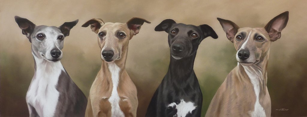 Original Pastel Painting Of Sky,Willo,Nell & Bo.
