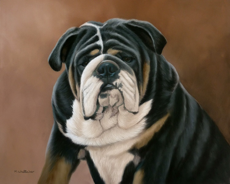Original Pastel Painting Of Big Doe The Bulldog