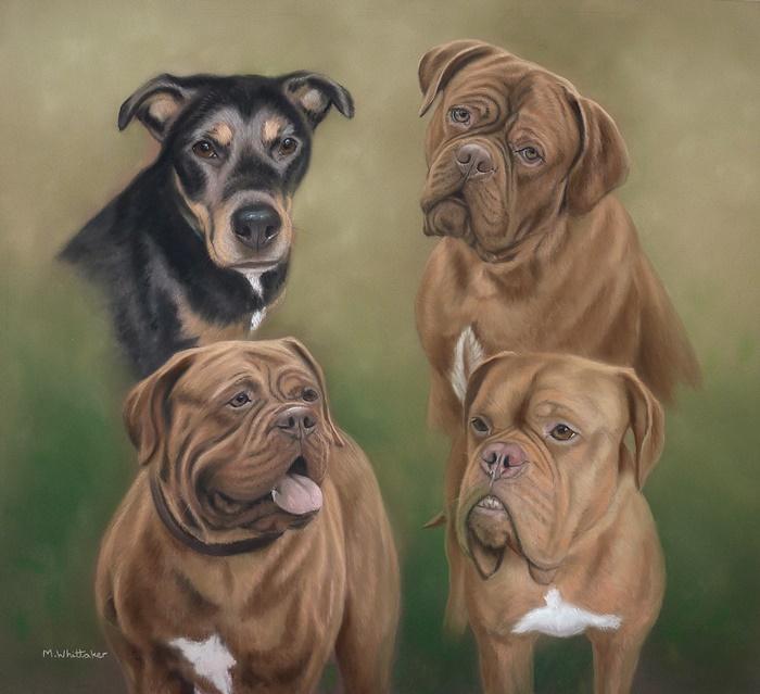 Original Pastel Painting Of Saffron, Gracie, Darla & Dexter
