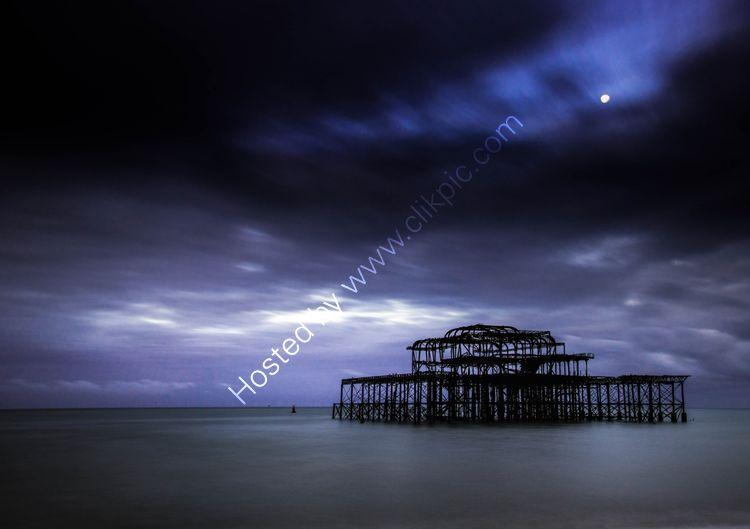 Moon over Brighton Pier