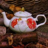 Hand painted Poppies on China Teapot