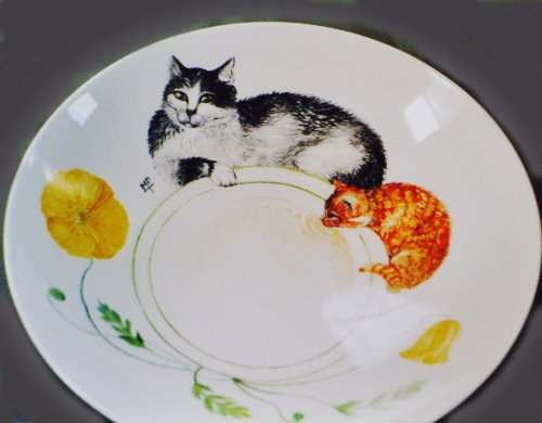 Hand Painted Cat onto a Fine Bone China Bowl