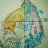 Complexity of design   (hand painted foxes in tiles)