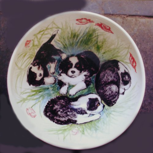 Puppies painted onto a fine Bone China Bowl