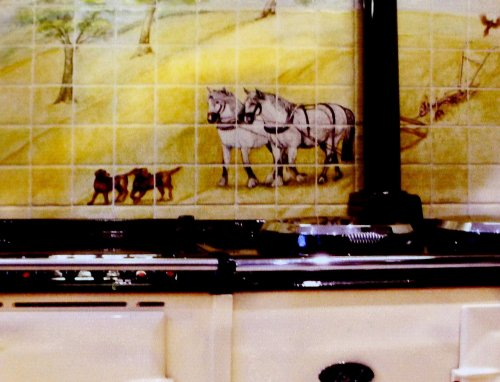 Farm and Countryside Tile Mural. Bespoke Hand Painted Kitchen Tiles. Design exclusive to customer.