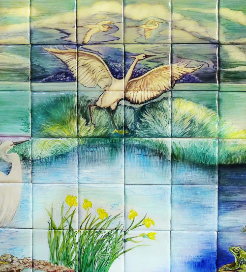 Little Egrets Hand Painted Tiles