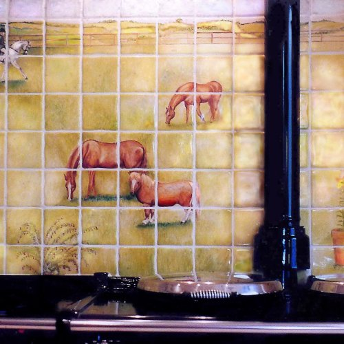 "Horses and Pony Hand Painted onto tiles (Click on "" Hand Painted Tile Murals"" Gallery)"