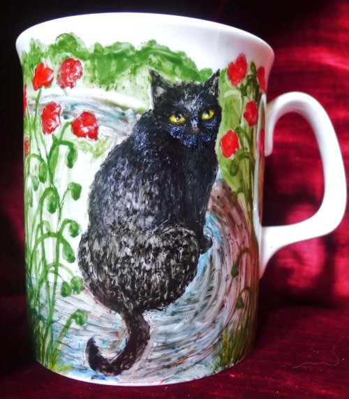 Cat Portrait Painted onto Fine Bone China Mug - click Next