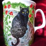 Cat Portrait Painted onto Fine Bone China Mug - click Next