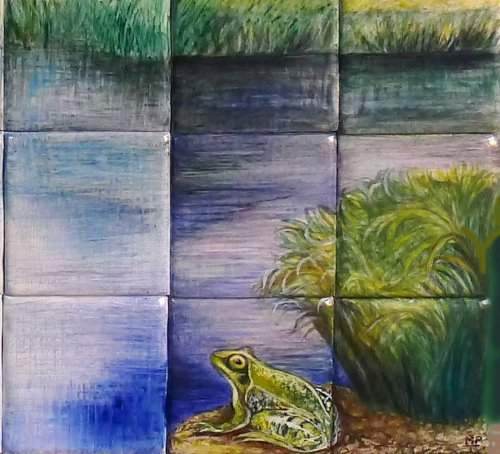 Close Detail of Frog from Little Egrets Mural