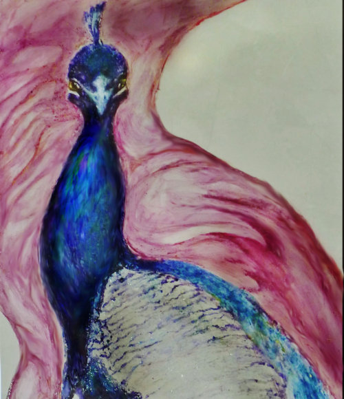 """Another detail """"Peacocks and Roses""""mural Sold"""