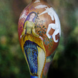 Hand Painted wooden Table Lamp Base