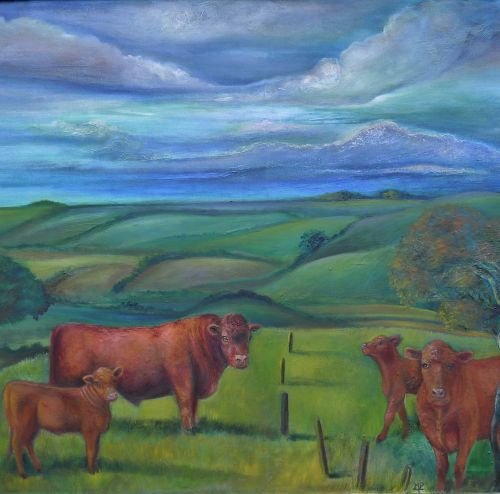 Lincolnshire landscape featuring Lincoln Red Cattle.