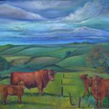 Lincolnshire landscape featuring Lincoln Red Cattle