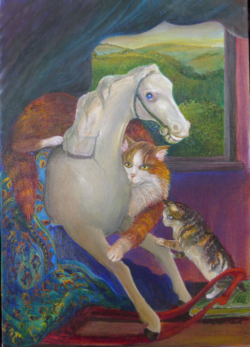 Lincolnshire Cat and Kitten ( An original oil painting )