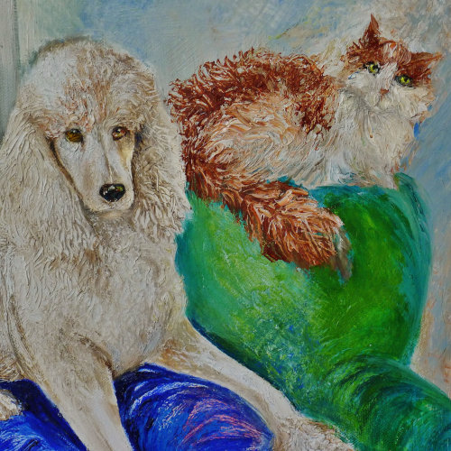 "Cat and Dog Portrait in Oil (Dolly and Felix) ""The Cat Band"""