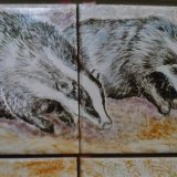 Detail from Hand Painted Kitchen Mural (Badgers on Tiles)