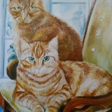 Oil Paintings of Cats (detail from former commission)