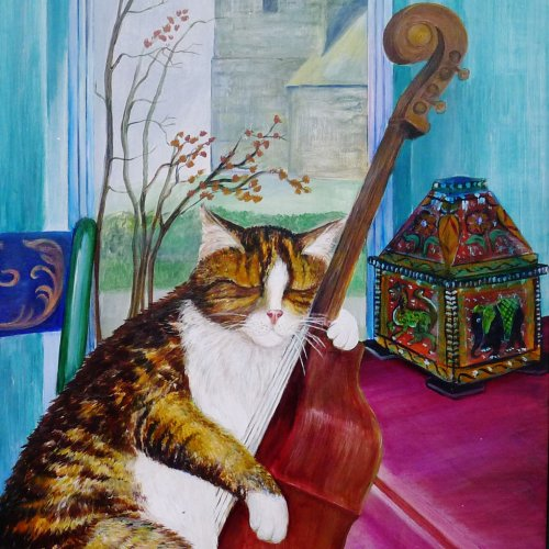 Time to introduce Stripey, son of Kitty. Always nodding off, great on the Double Bass.