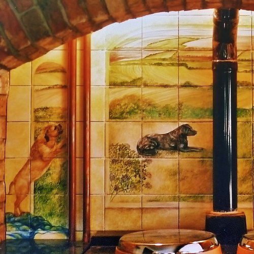 """Detail from Large Mural on section """"Hand Painted Tile Murals"""""""