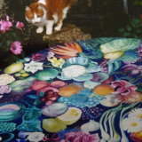 """Nelly modeling Hand Painted Table. Click on"""" Art on Wood"""""""
