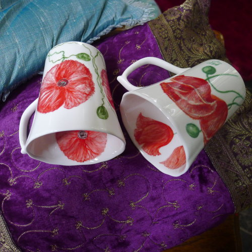 Margaret's Mugs. Original Hand Painted Mugs. £30.00 each