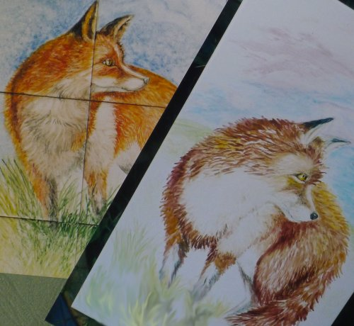 Number of Tiles   (hand painted foxes in tiles)