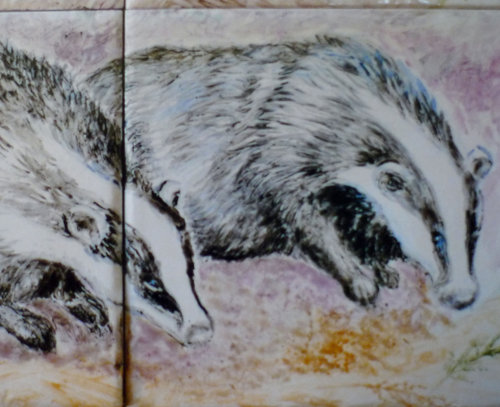 Hand Painted Tiles. Badgers from large Mural.
