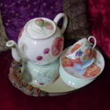 Hand Painted Cups and Saucers. Hand Painted Teapots. Taylor's Teapot with Taylor's Cup and Saucer