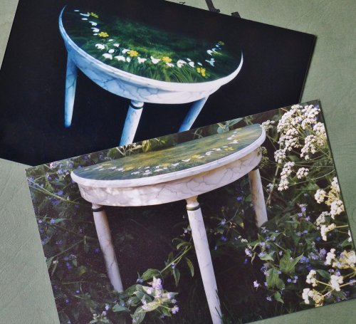 Photographs of Hand Painted Table and Table top Detail