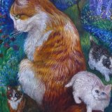 Close up detail from Oil Painting of Cat with Kittens