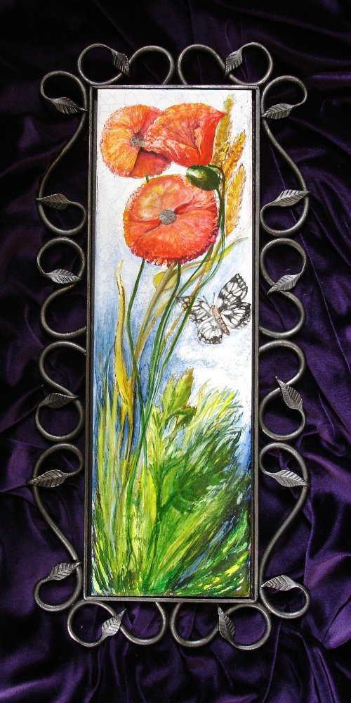 """English Wildflower Tiles"" Hand painted tiles of unusual sizes. Poppies on China Tile."