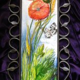 """""""English Wildflower Tiles"""" Hand painted tiles of unusual sizes. Poppies on China Tile."""
