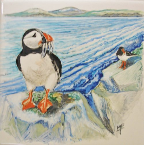 Hand Painted Puffins in Tiles
