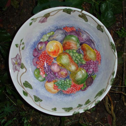 Large hand decorated fruit bowl