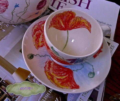 Unique Hand Painted Cup & Saucer. £35.00