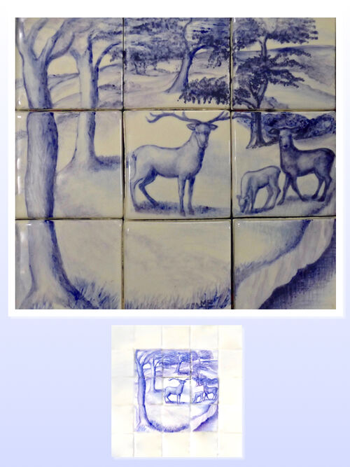 The Stag 1. Hand Painted Tiles in Blue