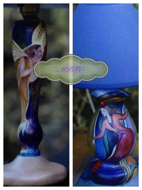 "Please go to ""How to Commission aTile Mural"" and click on ""Hand Painted Table Lamps"""