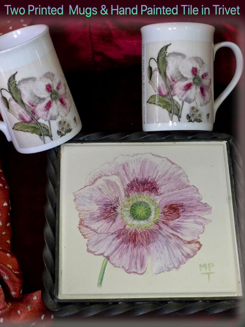 Hand Painted Tile in Trivet with Printed Mugs