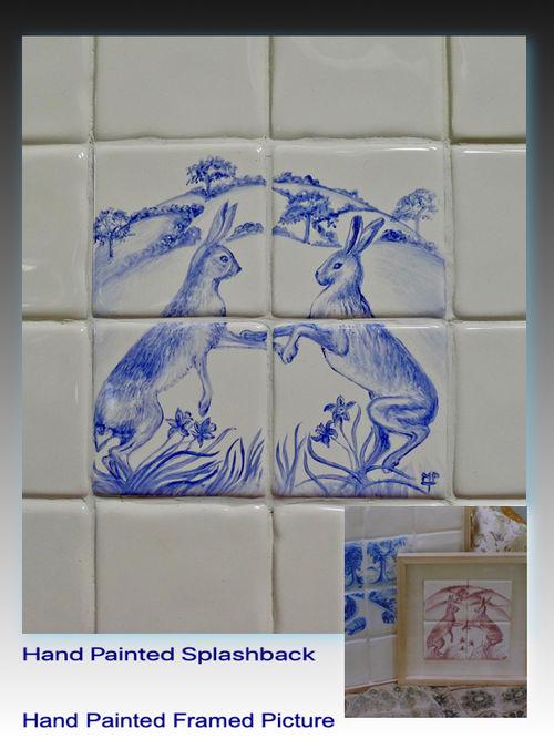 'Fighting Hares' Backsplash & Hand Painted Framed Tiles in Pink.