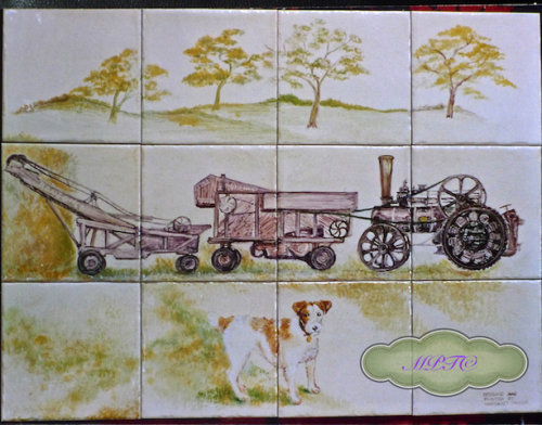 """Farm and Countryside Tiles.Country Kitchen Tile Backsplash """"Dog and Threshing Machine""""  For Sale on """"The Margaret Taylor Collection"""" Link on top of each Gallery Page"""