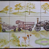 "Farm and Countryside Tiles.Country Kitchen Tile Backsplash ""Dog and Threshing Machine""  For Sale on ""The Margaret Taylor Collection"" Link on top of each Gallery Page"