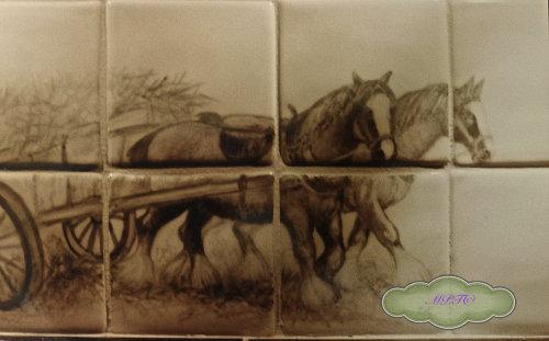 "Farm and Countryside Tiles.""Heavy Horses"""