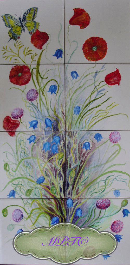 """English Wildflower Tiles"" Hand Painted Tiles"